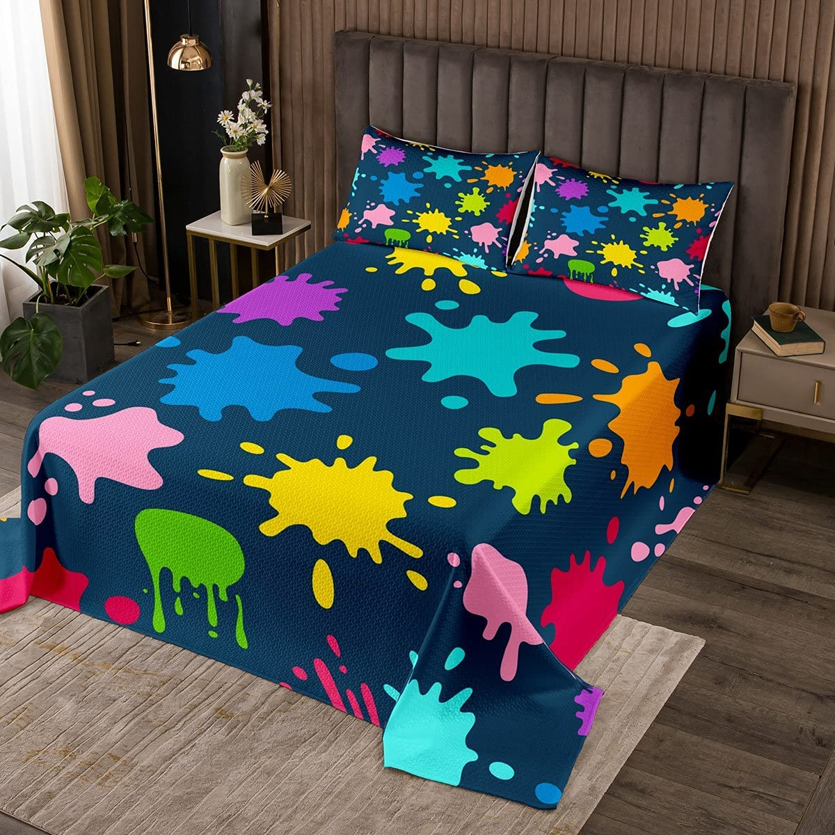 Watercolor 3 Piece King Bedspread Painting Max 51% OFF New sales Graffiti Hip Quil Hop