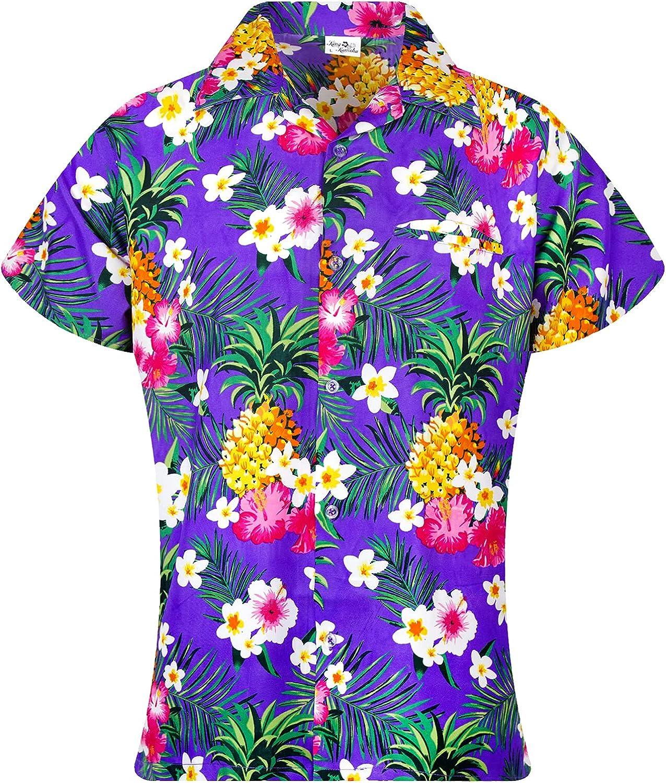 KING KAMEHA Funky Casual Hawaiian Blouse Shirt Women Front Pocket Button Down Very Loud Shortsleeve Pineapple Flowers Print