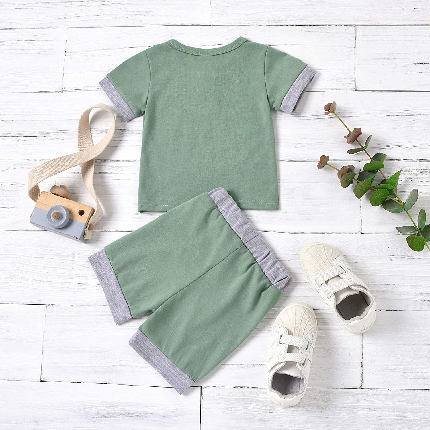 Infant Baby Boy Summer Clothes Short Sleeve Patchwork Crewneck T-Shirt Top and Shorts Set 2PCS Casual Outfits (Green