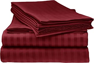 Bella kline Bedding 1800 Series 4 pc Bed Sheet Set with Pillowcases Hypoallergenic, 1 Soft Silky Luxurious Feel, Fitted and Flat Sheets Lifetime - Full Size, Burgundy