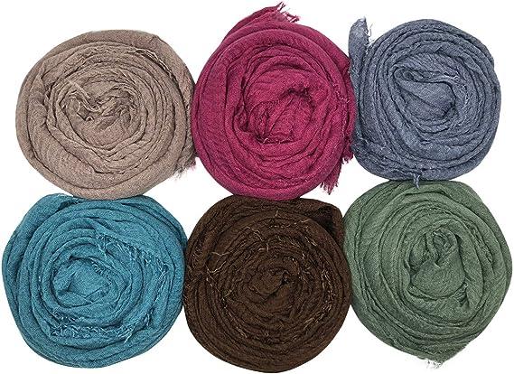 MANSHU 6PCS Women Soft Cotton Hemp Scarf Shawl