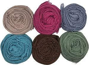 MANSHU 6PCS Women Soft Cotton Hemp Scarf Shawl Long Scarf, Scarf and Wrap, Big Head Scarf