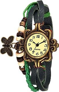Watzo Butterfly Green Dori Analog Dial Leather Dori Strap Party Wedding | Casual Watch | Formal Watch | Luxury Watch | Fashion Wrist Watch Specially for Teenager Girls and Women | Dori