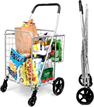 SUPENICE Grocery Utility Shopping Cart – Deluxe Folding Cart with Double Basket and..