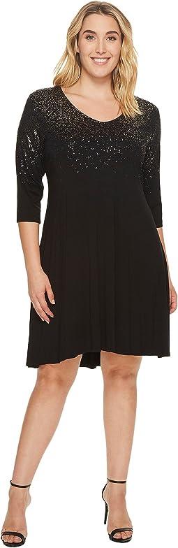 Plus Size Speckled Print Dress