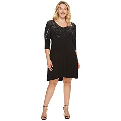 Karen Kane Plus Plus Size Speckled Print Dress (Black) Women