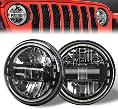 DOT Approved Black 7 Inch LED Headlights with White Halo Ring for Jeep Wrangler JK TJ LJ CJ JL Hummber H1 H2