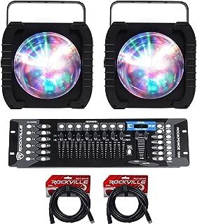 (2) American DJ ADJ REVO 4 IR RGBW DJ/Club Lights w/Moonflower FX+DMX Controller