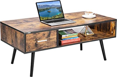 VIVOHOME 43 Inch Wooden Retro Mid-Century Modern Coffee Table with 1 Drawer and Open Storage Shelf Vintage Accent Boho Cocktail TV Office for Home Living Room Indoor, Rustic Brown