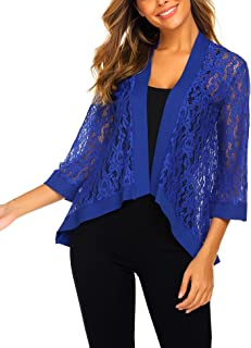 495adb156 Dealwell Women's Lace Cardigan Lightweight 3 4 Sleeve Dressy Shrug Summer  Jacket