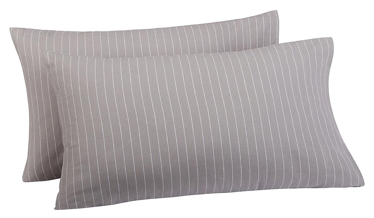 Pinzon 160 Gram Pinstripe Flannel Pillowcases - King, Grey Pinstripe - PZ-PLFLAN-GP-KPC