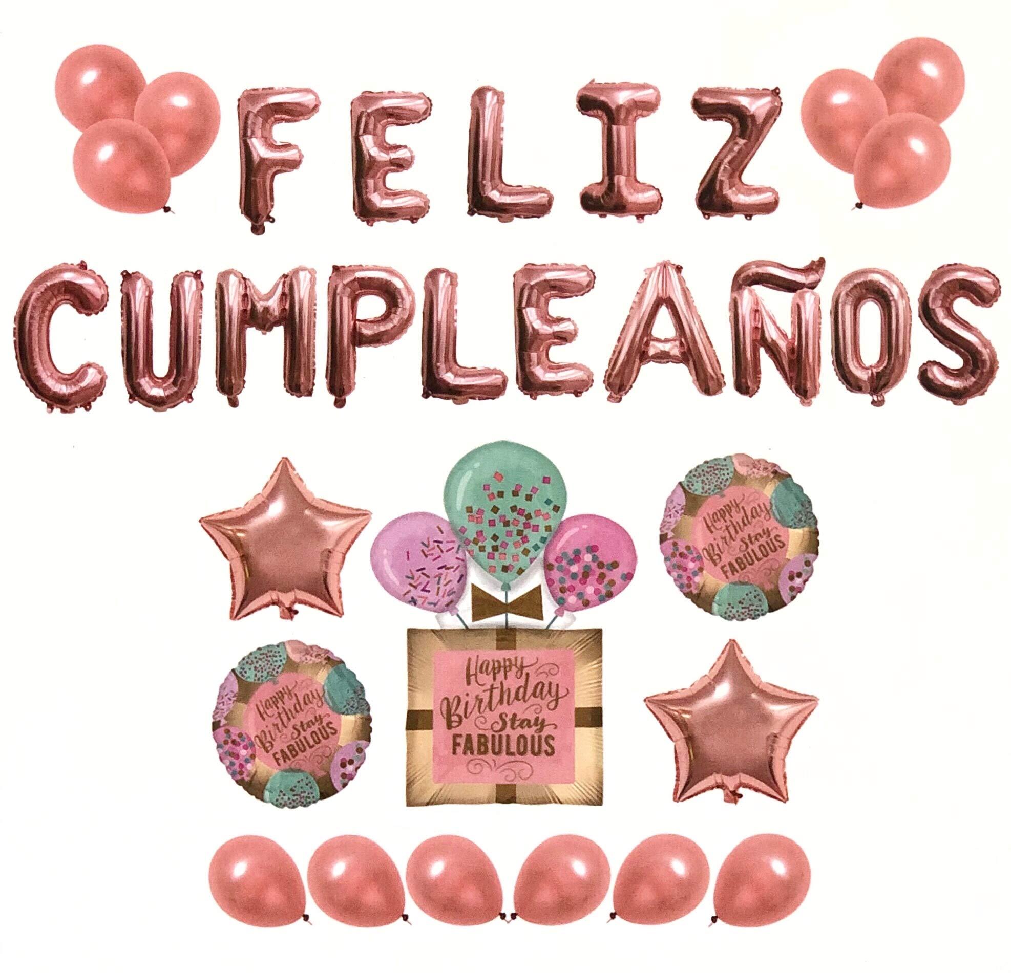 Pack Globos Feliz Cumpleaños Rosa - 1 Decoración Regalo 100cm + 2 ...