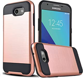 Galaxy J7 Sky Pro Case, Galaxy J7 V/J7V/J7 Perx Case, SPRTECH Anti-Shock Brushed Metal Texture TPU PC Dual Layer Hybrid Bumper Non-slip Protective For Samsung Galaxy J7 2017 VLS (Rose Gold)