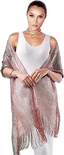 L'vow Women Wedding Cape Glitter Metallic Evening Shawl Wrap Fringed Scarf for Evening Dresses