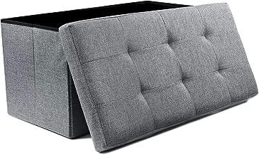 NISUNS OT03 Linen Fabric Folding Storage Ottoman Space Saving Storage Bench Toy Chest, Large Size 30, Gray