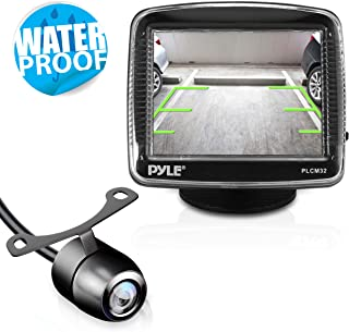 Pyle Backup Car Camera  Rearview Monitor System - Parking and Reverse Assist w/ Waterproof and Night Vision Abilities, 3.5 Monitor Display Screen, Wide Angle Lens & Distance Scale Lines - (PLCM32),