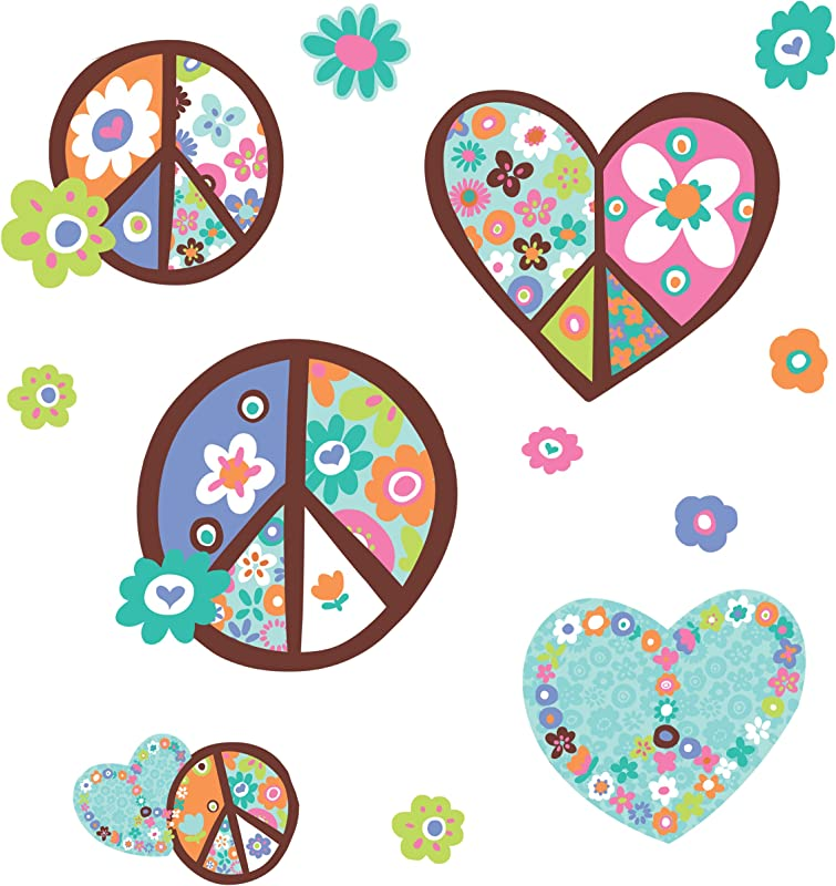 RoomMates Heart Flower Peace Sign Peel And Stick Giant Wall Decal