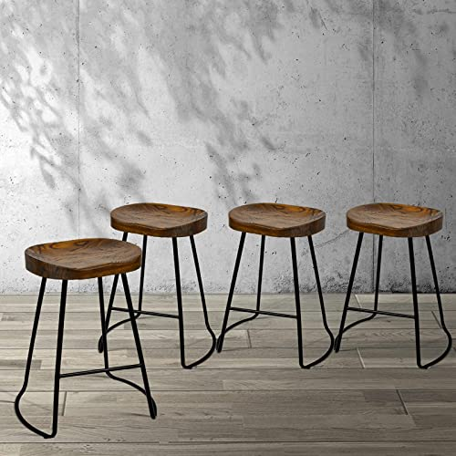 Artiss 4 Pcs Bar Stools 65cm Height Wooden Tractor Seat Metal Counter Stools Industrial Bar Chairs for Home Kitchen D...
