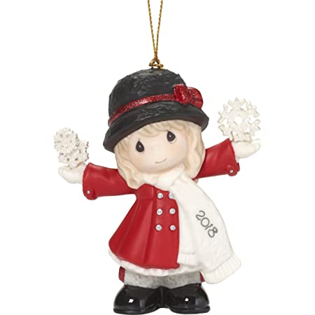 """Precious Moments""""Have A Magical Holiday Season Dated 2018 Girl Ornament, Multicolor"""