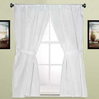Sweet Home Collection Fabric Bathroom Window Curtain Hotel Quality Set of Two Durable 36