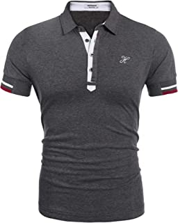 Hotouch Mens Fashion Polo Shirt Short Sleeve Polo Tee Casual Slim Fit Basic Golf Tee Sport Polo T-Shirts