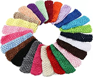 KW Collection Girl Baby Headbands Elastic Crochet Hair Bands Hair Accessories Elastics Ties Shaper Head wrap Set Pack of 50 Pcs in 25 colors (Band: 1.6