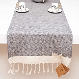 Smyrna Original Turkish Table Runner Vintage Series   100% Cotton, 15 x 108 Inches   Vintage Farmhouse Table Runners for Home Dining Table Decor and Bohemian Wedding Decoration (Gray, 15