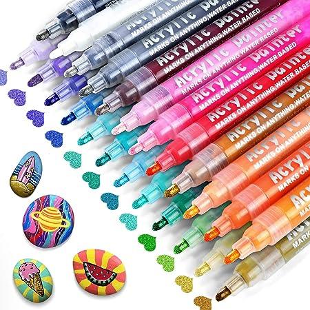 RATEL Feutre Acrylique Peinture Acryliques Stylos, 24 Couleurs Marqueur Peinture Acrylique Premium Permanent Stylo Peinture Acrylique, pour la Projets d'Artisanat de Bricolage, Céramique, Verre