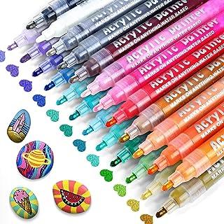 RATEL Feutre Acrylique Peinture Acryliques Stylos, 24 Couleurs Marqueur Peinture Acrylique Premium Permanent Stylo Peintur...