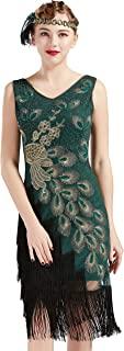 BABEYOND 1920s Vintage Peacock Sequined Dress Gatsby Fringed Flapper Dress Roaring 20s Party Dress