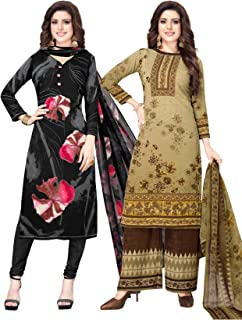 S Salwar Studio Women's Pack of 2 Synthetic Printed Unstitched Dress Material Combo-MONSOON-2888-2890