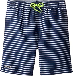 Toobydoo Navy White Pinstripe Swim Shorts (Infant/Toddler/Little Kids/Big Kids)