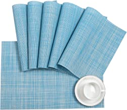 Pauwer Placemats Set for Dining Table Plastic Woven Vinyl Place Mats Wipe Clean Non Slip Heat Resistant Washable Kitchen T...