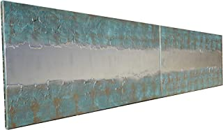patina e argento Astratto A446 - dittico con texture industriale, opere d'arte originali, dipinti astratti con texture del...