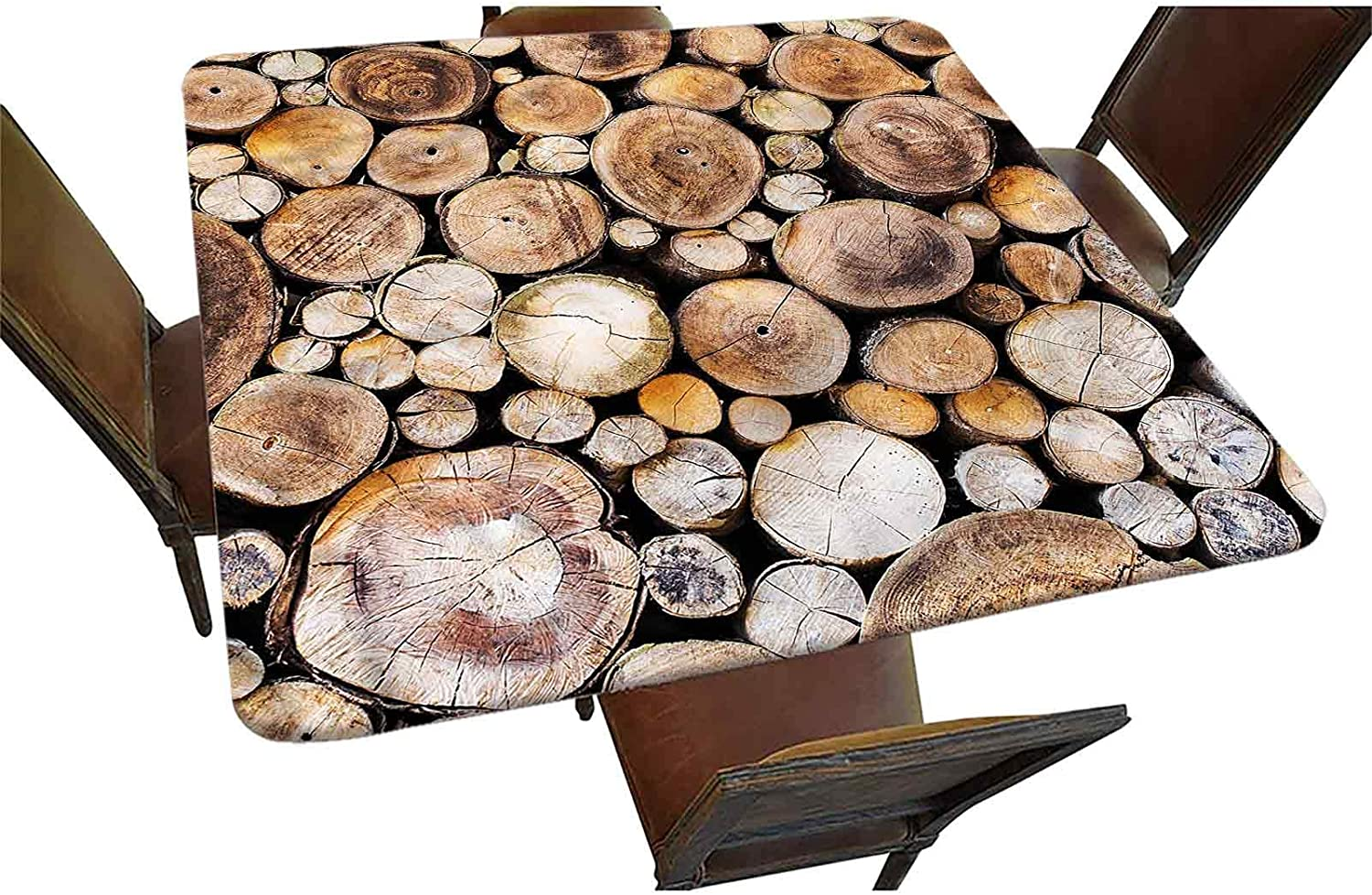Rustic Decor Elastic Edged Square Al sold out. Wooden Logs Fitted Tablecloth New product