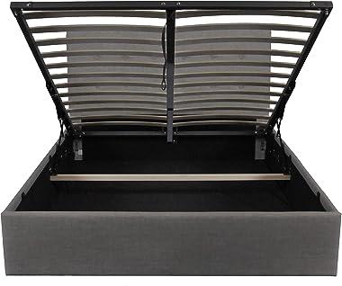Weber Industries PARMA Lit coffre 140x190cm, Tissu gris Foncé