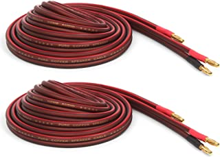 Micca Pure Copper Speaker Wire with Gold Plated Banana Plugs, 14AWG, 6 Feet (2 Meter), Pair