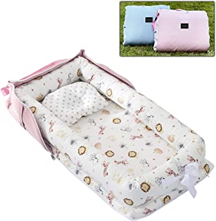 AVSIL® Portable Baby Nest with Pillow, Newborn Baby Lounger with Foldable Bag (Pink)