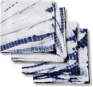 Folkulture Cloth Napkins for Dining Table or Cotton Dinner Napkins, Set of 4 Blue Shibori Reusable Napkins, 20-inch by 20-...
