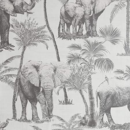 Arthouse Safari Elephant Charcoal Wallpaper for Living Spaces & Feature Walls, 53 cm x 10.05 m Roll, 296700