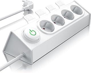 Steckdosenleiste 4-Fach Mehrfachsteckdose mit Auswurfautomatik zum einfachen Austecken von Steckern per Fuß oder Hand Steckerleiste für Wandmontage Mehrfachstecker mit Energiespar Schalter
