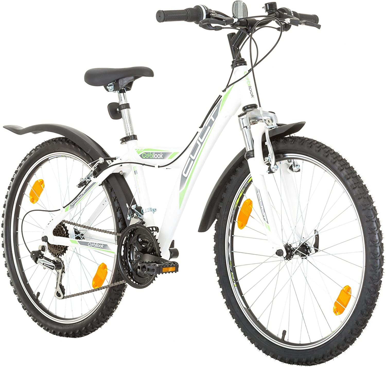 Multibrand, 24 inches, CoollooK, CULT, Unisex, Mountain, Hardtail Aluminum Frame, 18 Speed, Shimano, Rims MACH1, White-Gloss