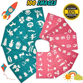 Tekameka Face Paint Stencils Kit 100 Pieces, Large Medium Small Reusable, Thick Body Painting Stencil - Great for Birthdays, Fundraisers, Halloween, Christmas Party