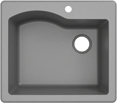 Kraus KGD-441GREY Quarza 25-inch Drop-In Single Bowl Granite Kitchen Sink, Gray