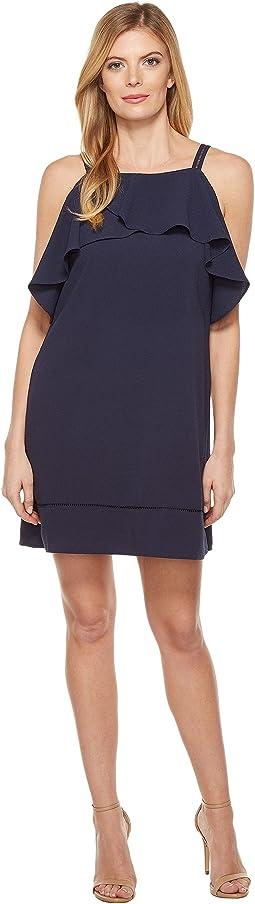 30s Crepe Cold Shoulder Shift Dress