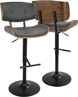 WOYBR Wood, Pu Leather, Metal Lombardi Barstool