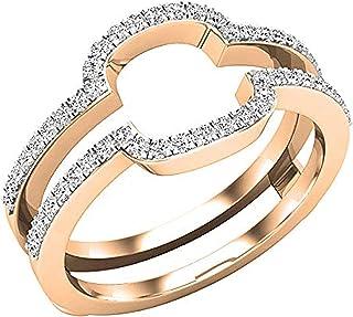Dazzlingrock Collection - Alianza de boda para mujer, 0,30 quilates, diamante blanco redondo, doble protección, 1/3 quilat...