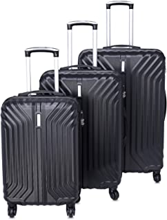 مجموعة حقائب سفر بعجلات وحواف صلبة مصنوعة من مادة ايه بي اس من ترافل فيجن، 3 قطع، لون اسود معدني