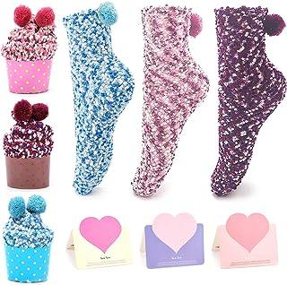 3pcs Divertidos Calcetines de Pastel,Diseño de Magdalenas Calcetines Niñas Calcetines de Navidad con caja de regalo 3 piezas Tarjetas Presentes