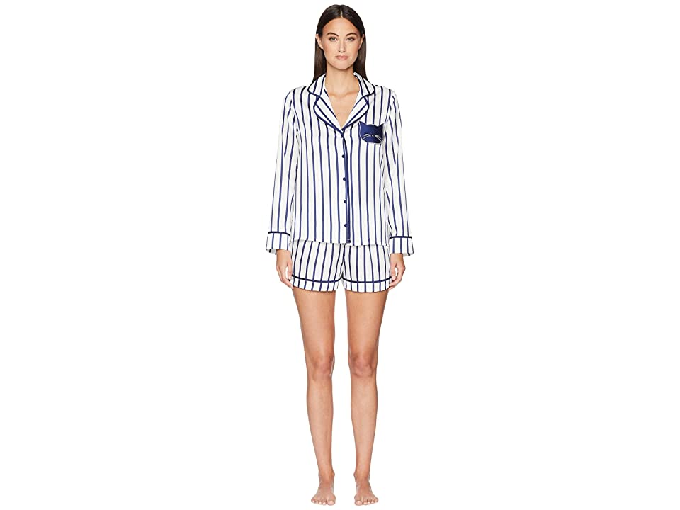 Kate Spade New York Stripe Short Pajama Set (White Ground Stripe) Women